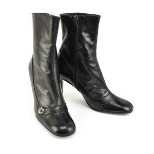 "CHANEL Black, Leather ""Camellia"" & ""CC"" Logo Boots"
